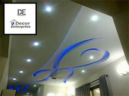 Neon Blue design False Ceiling